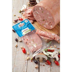 Μορταδέλα Μυκονιάτικη (Με Φυστίκι, Λιαστή Τομάτα, Ελιές & Μανιτάρια) Μουλκιώτης Φέτες Συσκ. 0,150γρ. Τεμάχιο