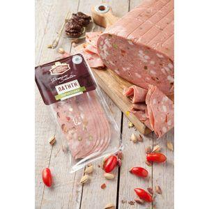 Μορταδέλα Πατητή Παραδοσιακή (Με Φυστίκι & Λιαστή Τομάτα) Μουλκιώτης Φέτες Συσκ. 0,150γρ. Τεμάχιο