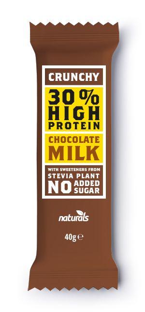 Σοκολάτα Πρωτεΐνης Crunchy Milk NATURALS 40g