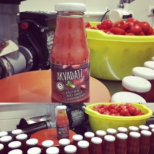 """Akvadajz""- mashed vegetable juice - tomato with the addition of wild onion (wild garilic) 200ml Glass Bottle Twist Off"