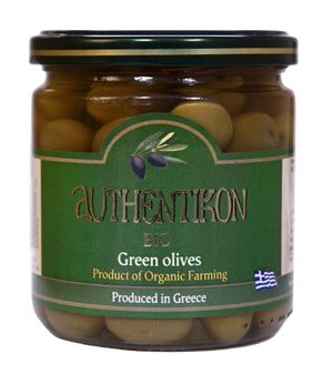 Organic green olives pitted AUTHENTIKON 400ml glass