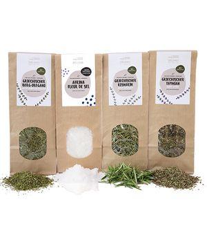 Full pack Bio Herbs and Salt: Oregano, Thyme, Rosemary – each 40 gr + Fleur de Sel 200 gr