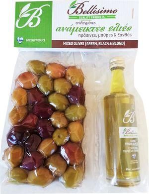 Olives with olive oil bottle