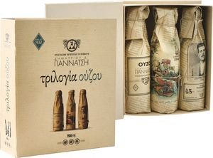 Greek Ouzo Trilogy-Retro packaging by the famous distillery Gianatsi from Lesvos