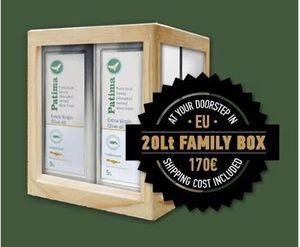Extra Virgin Olive Oil - Patima - Family Box 4 Tin Canisters of 5lt