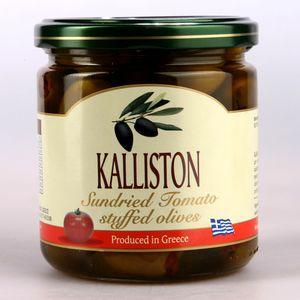 Authentic Greek green olives sundried tomato stuffed KALLISTON 400ml glass