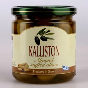 Authentic Greek green olives almonds stuffed KALLISTON 400ml glass