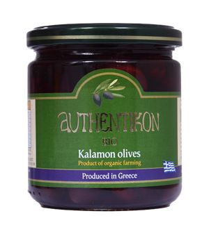 Organic black olives pitted AUTHENTIKON 400ml glass