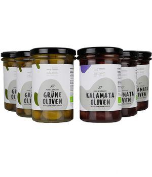 Double Organic 12 - pack : 6 jars Green Olives + 6 jars Kalamata Olives