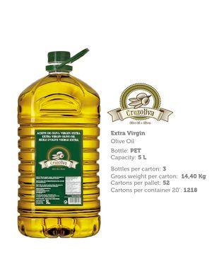 Spanish Extra Virgin Olive Oil 5 litters in Pet Bottle - 156 bottles (1 Pallet)