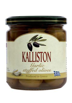Authentic Greek green olives garlic stuffed KALLISTON 400ml glass