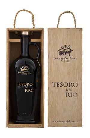 Tesoro Del Rio 750ml Excellence Organic Extra Virgin Olive Oil Glass Bottle in Artisanal Natural Wooden Box
