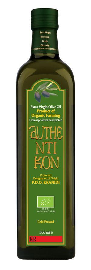 Organic Extra Virgin Olive Oil AUTHENTIKON 500ml Glass bottle